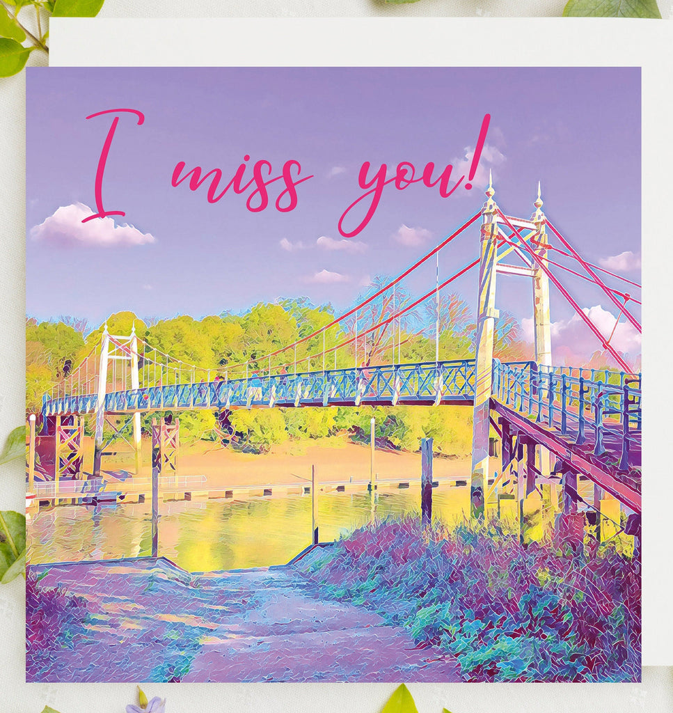 I Miss You Card UK, Teddington Lock Card, Hugs Card UK, Teddington, Luxury Greeting Card by Katie Corcoran London, Dispatched Same Day
