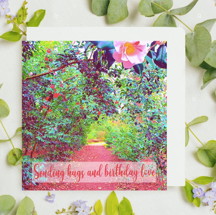 Sending Hugs Birthday Love Card, Waterhouse Plantation, Bushy Park Art, Flower Card, Pink Card, UK Birthday Card, Teddington, Katie Corcoran