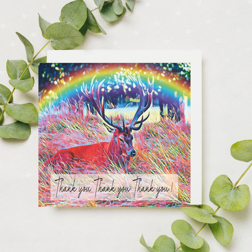 Pack of 5 Bushy Park Cards, Sending Hugs, Lockdown Cards, Hug Card, UK Birthday Card, Teddington, Bushy Park Stag, Surbiton, Katie Corcoran