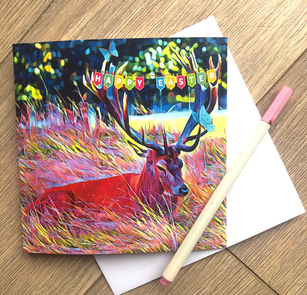 Easter Card from Bushy Park Teddington, Stag Card, Easter, Richmond, Hampton Court, family card, Surbiton, Surrey Art, Katie Corcoran
