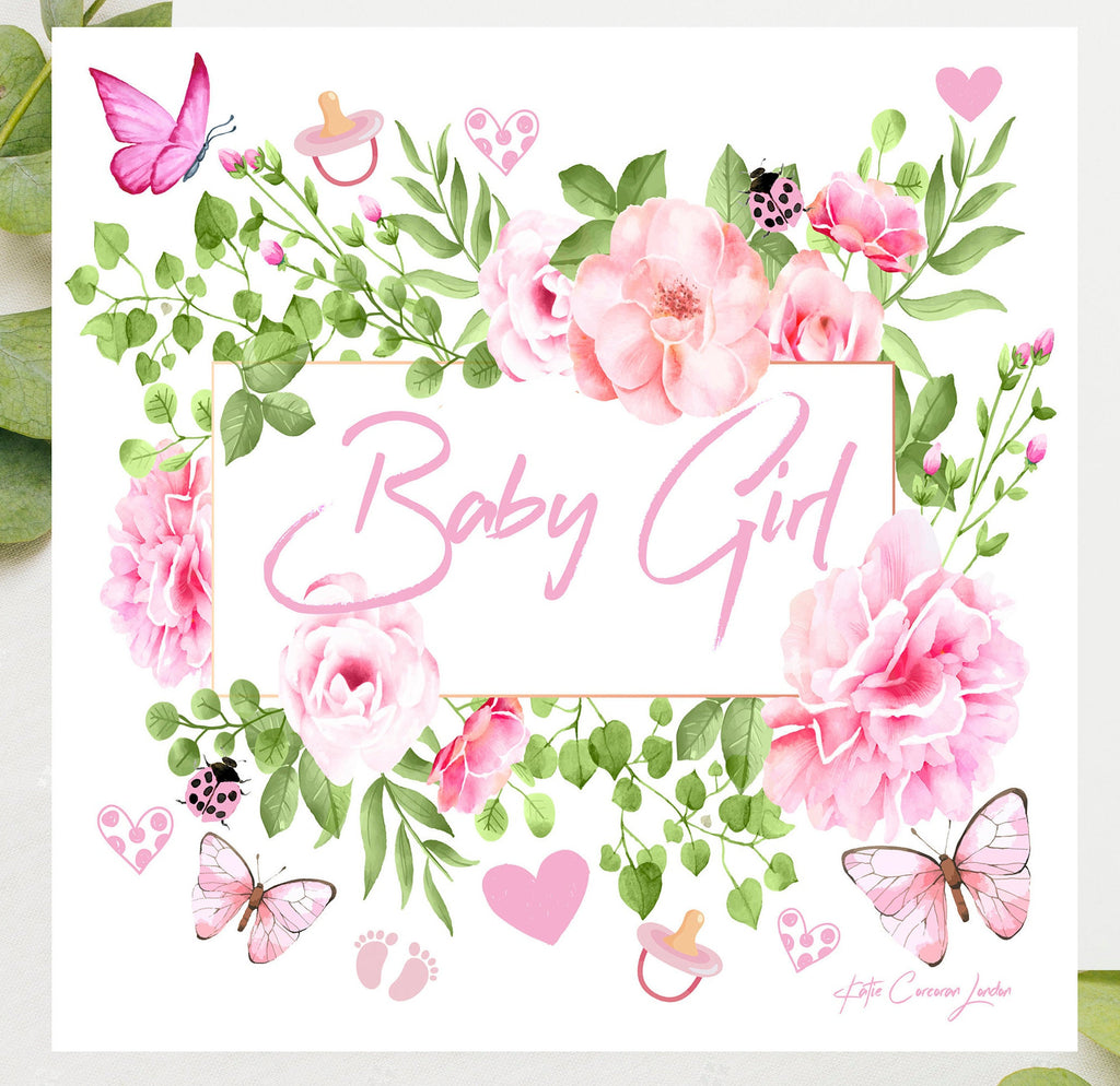Baby Girl Card  - Pink Baby Shower by Katie Corcoran - FREE DELIVERY