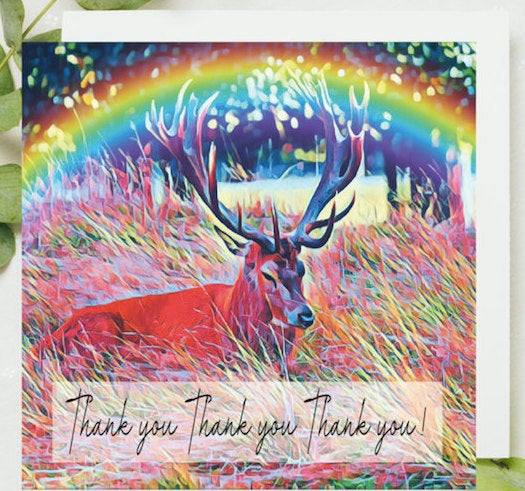 Pack of 5 Thank you Lockdown Cards, Bushy Park Stag, UK Thank you Card, Teddington, Stag Card, Stag, Katie Corcoran, Dispatch Same Day