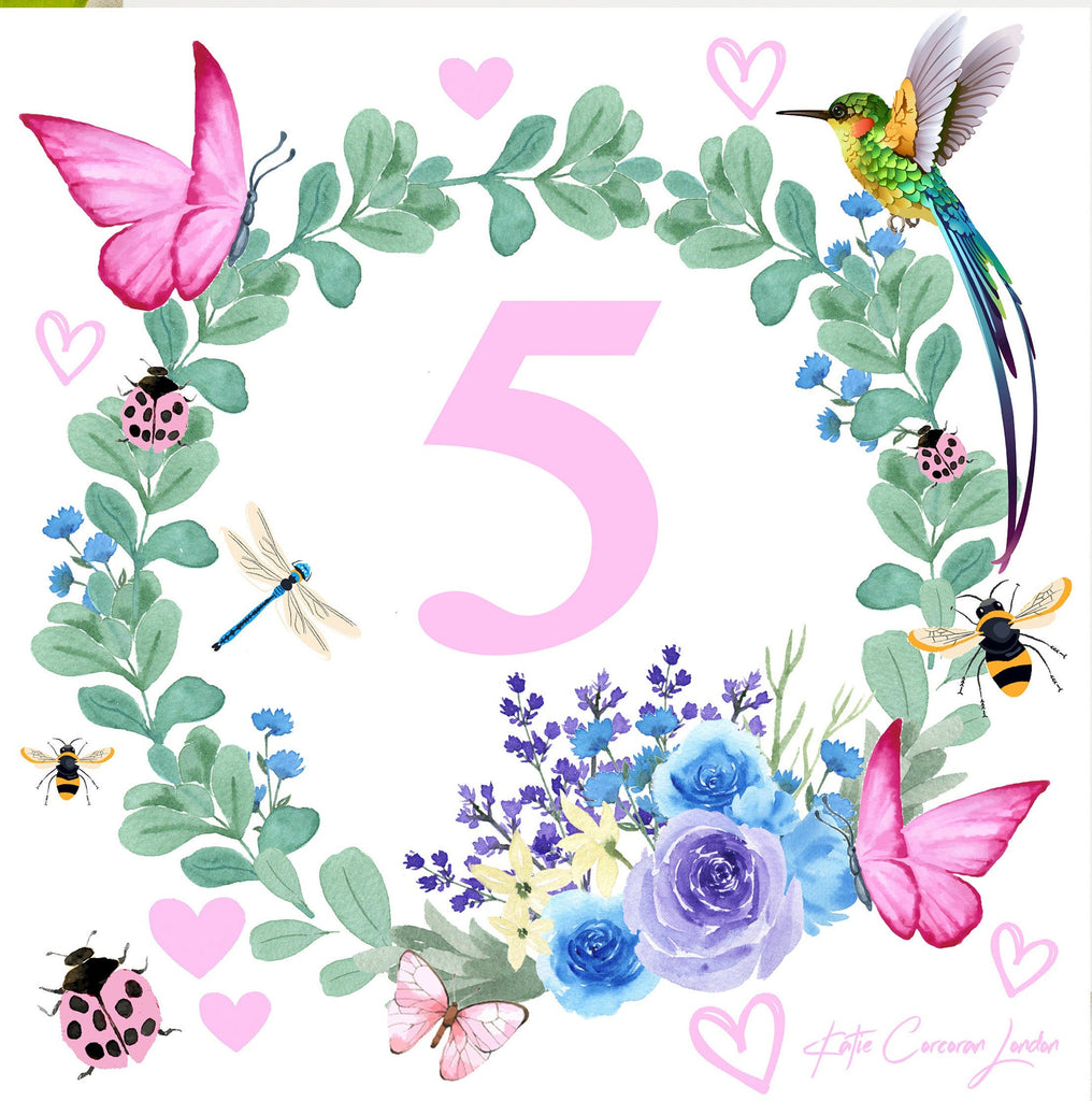 5th birthday card uk by Katie Corcoran London  - FREE DELIVERY