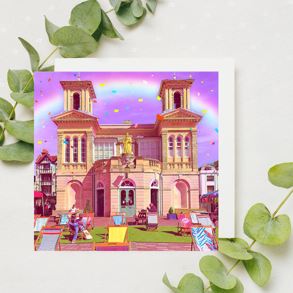 Rainbow Kingston Market House Card, Social Distancing Hug, UK Card, Kingston Upon Thames, Rainbow, Thank You Card , by Katie Corcoran