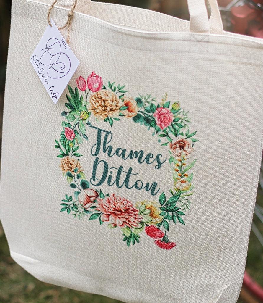Personalised Place Tote Bag - Linen Tote Bag - Custom Location Tote - Personalised Bag UK - Thames Ditton - Eco friendly gift UK