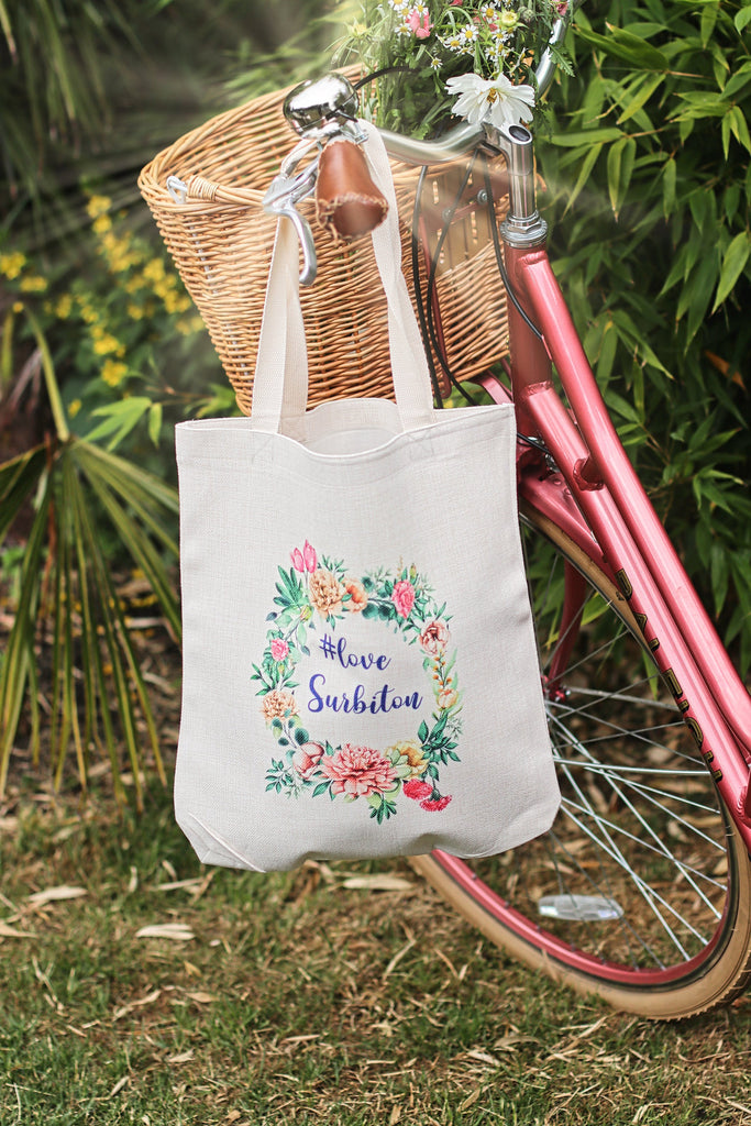 Love Surbiton UK Tote Bag - Linen Tote Bag - Love Tote Bag - Bag UK - Surbiton - hashtag  - Eco friendly gift UK - gift for friend uk