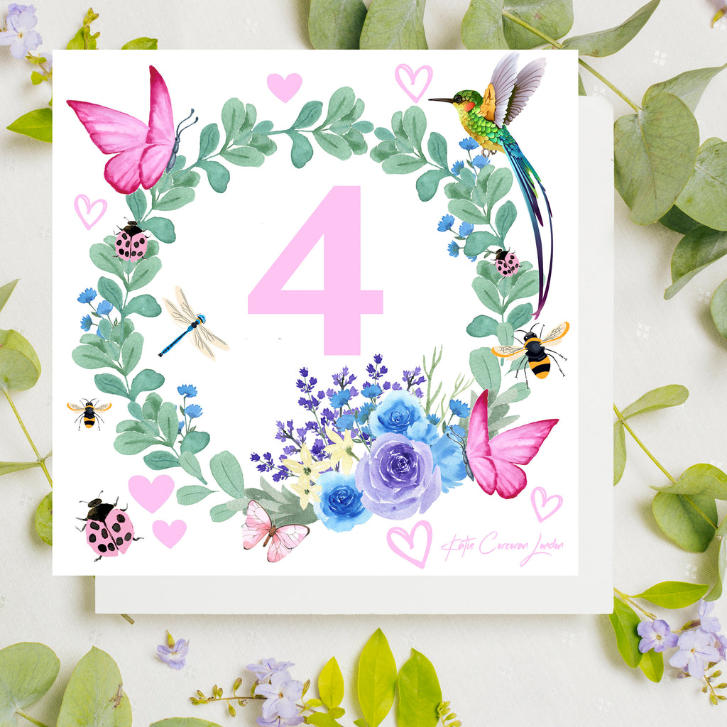 4th birthday card by Katie Corcoran London - FREE DELIVERY