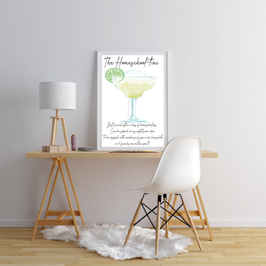 Homeschool print - Quarantini cocktail print - Lockdown print - teacher print - funny cocktail print - cocktail gift for friend
