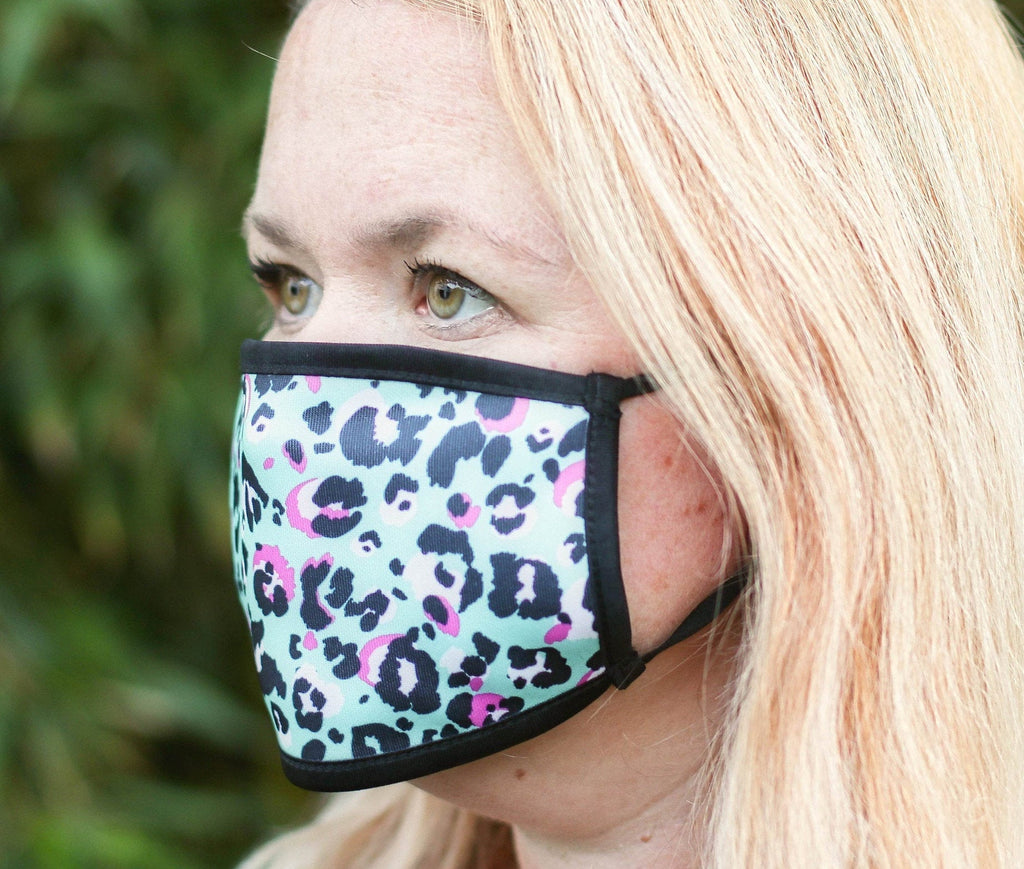 Blue Leopard Triple Layer Face Mask - FREE DELIVERY