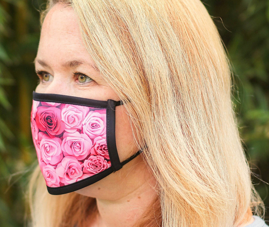 Ladies Rose Face Mask -Bride Face Mask -Wedding mask -Reusable triple layer Face Mask -Adjustable Face Mask -washable triple Layer Face Mask
