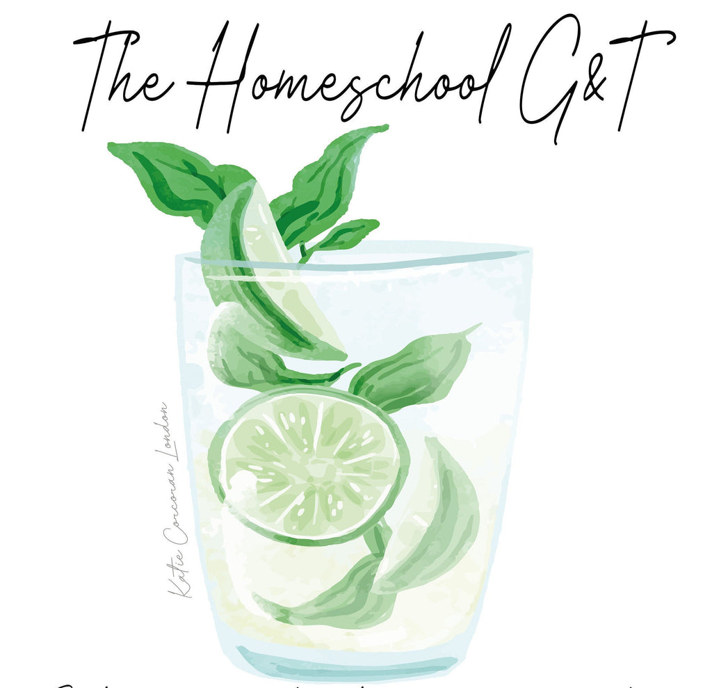 Homeschool gift - Lockdown wall art - fun gin and tonic print - cocktail print for friend - gin and tonic fun wall art - bold kitchen print