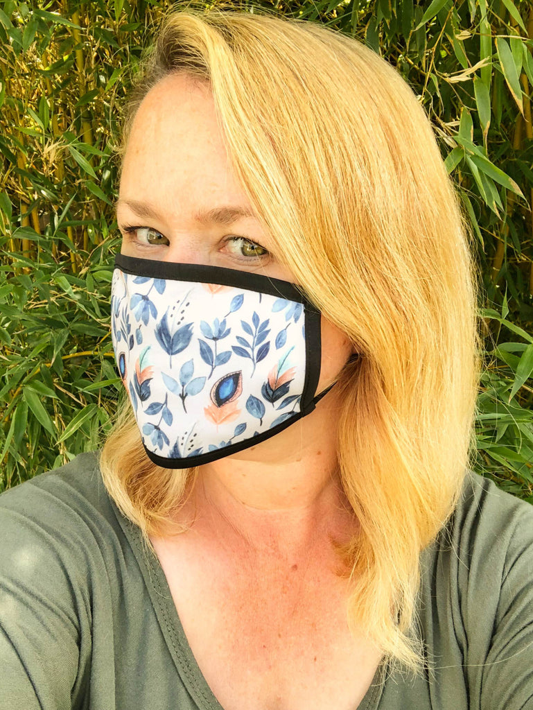 Feather Patterned Triple Layer Washable Face Mask - FREE DELIVERY