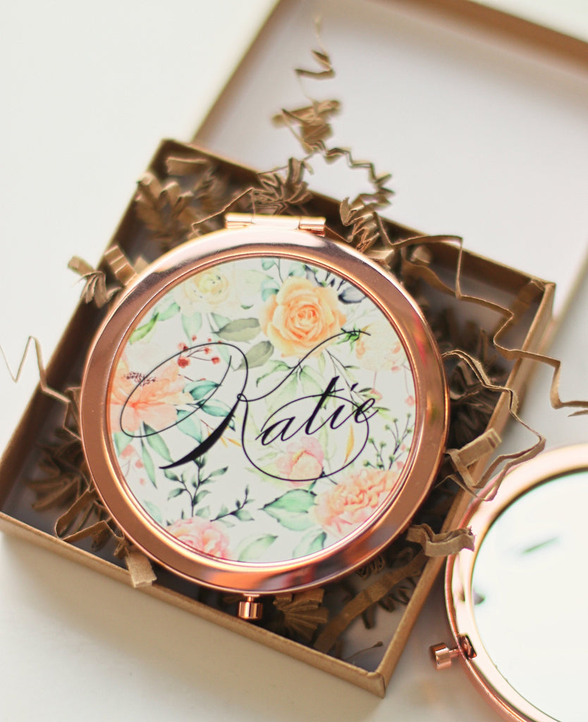 Personalised rose gold mirror compact gift - personalised 40th birthday gift -personalised 30th gift - Personalised Lockdown Gift -30th gift