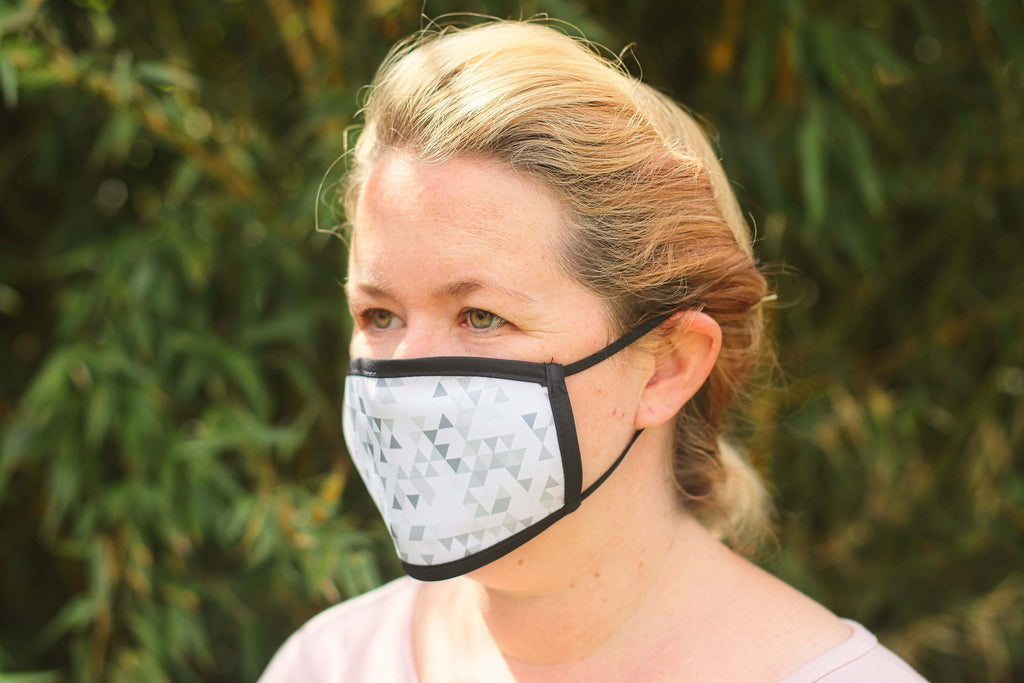Geometric Grey Triple Layer Washable Face Mask - FREE DELIVERY