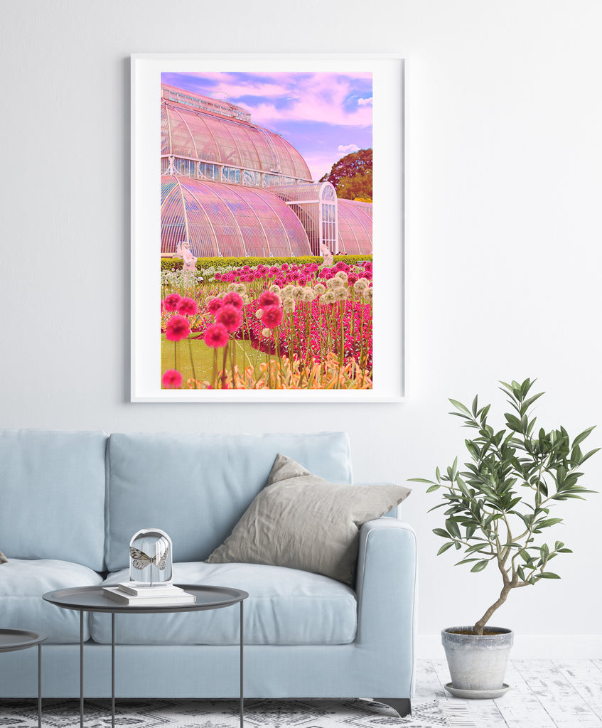 Kew Gardens Palm House and flowers - Fine Art Giclée Print (30x40 mounted)
