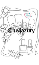 "Load image into Gallery viewer, ""Beautiful Nail Colors"" E Book Coloring Book Digital Download for kids"
