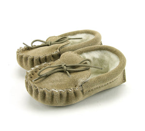 Natural Wool Lined Moccasin
