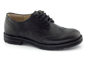 Froddo Black Brogue School Shoe (G4130019)