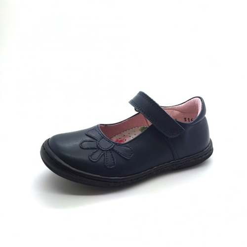 Petasil Donna School Shoe, Black Aniline