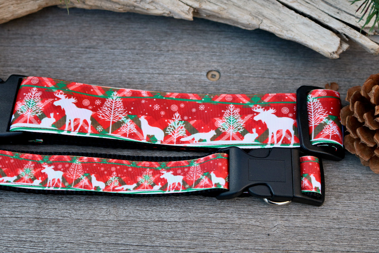 "Festive Moose 1"" and 1.5"" Collar"