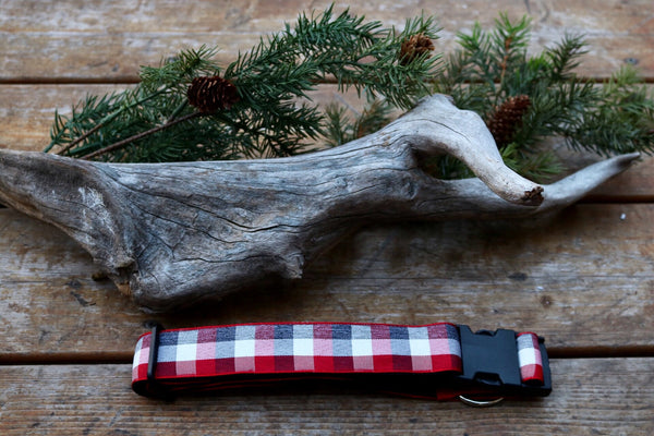 "Red and Grey Plaid 1 1/2"" Collar"