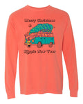 Merry Christmas & Hippie New Year - YOUTH Long Sleeve Neon Orange Red Tee