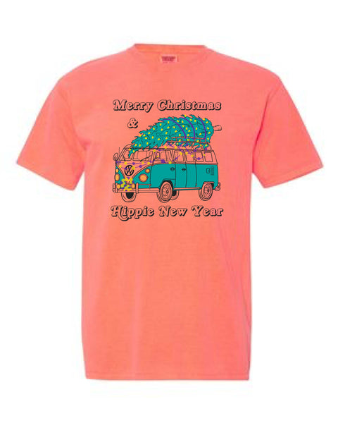 Merry Christmas & Hippie New Year - YOUTH Tee - Neon Orange Red