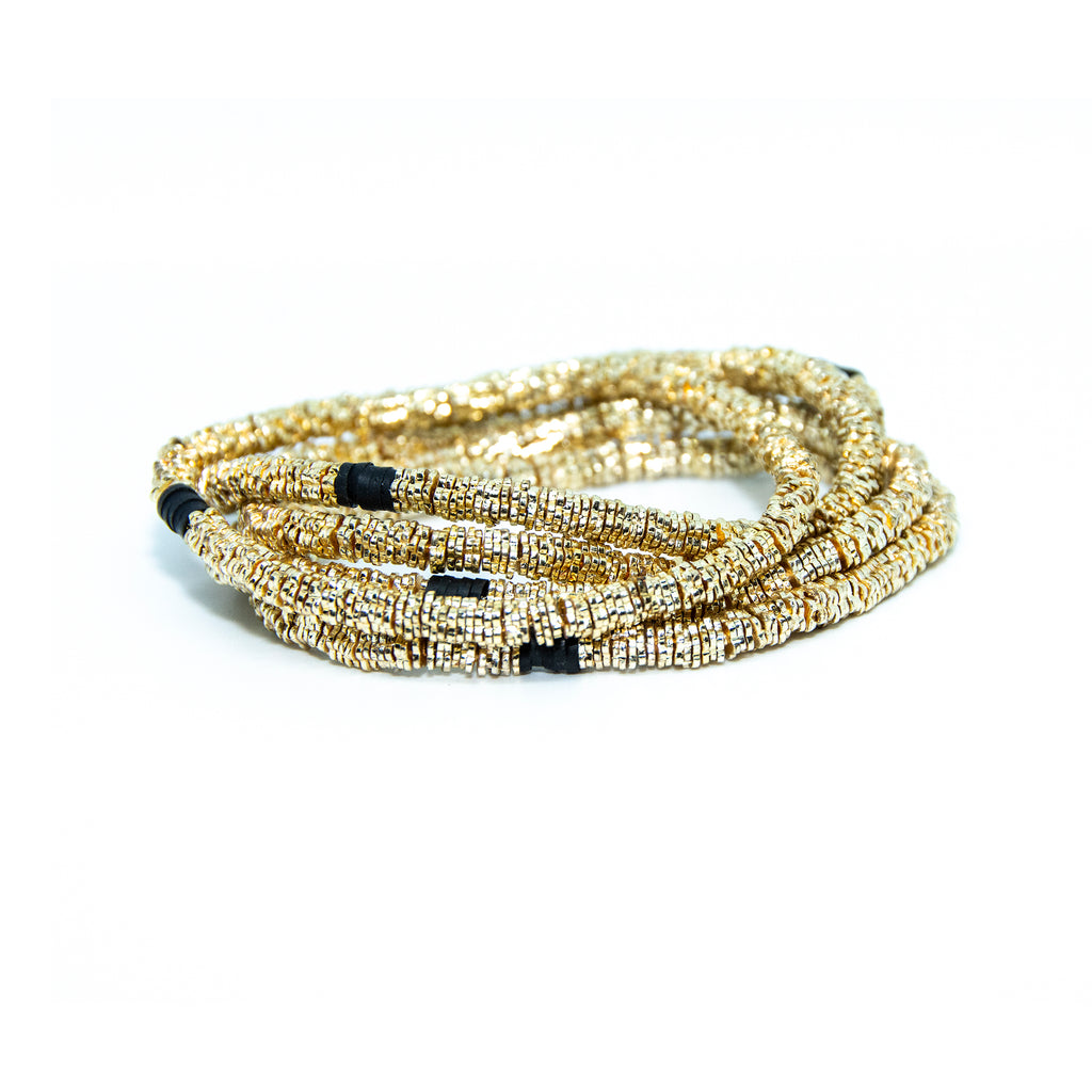 Gold Flora 4mm Stack of 5