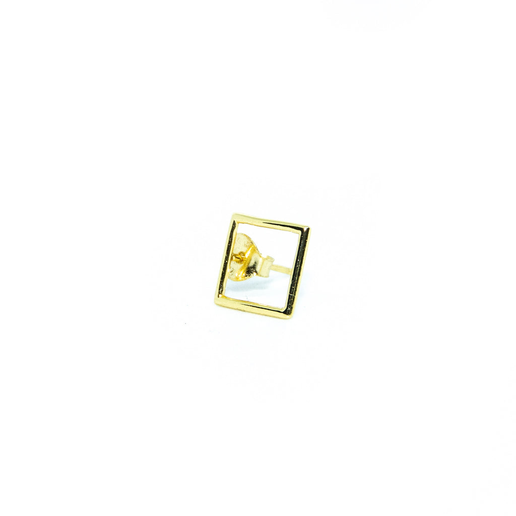 Gold Open Square Earrings
