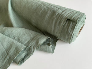 Moss Green Linen Fabric - Stone Washed Super Soft