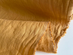 Mustard Linen Fabric - Stone Washed Super Soft