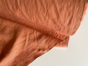 Terracotta Linen Fabric - Stone Washed Super Soft