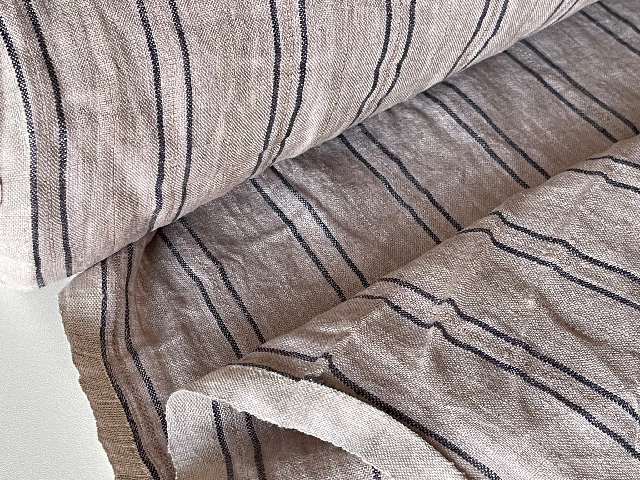 Mocca Stripes Linen Fabric - Stone Washed Super Soft