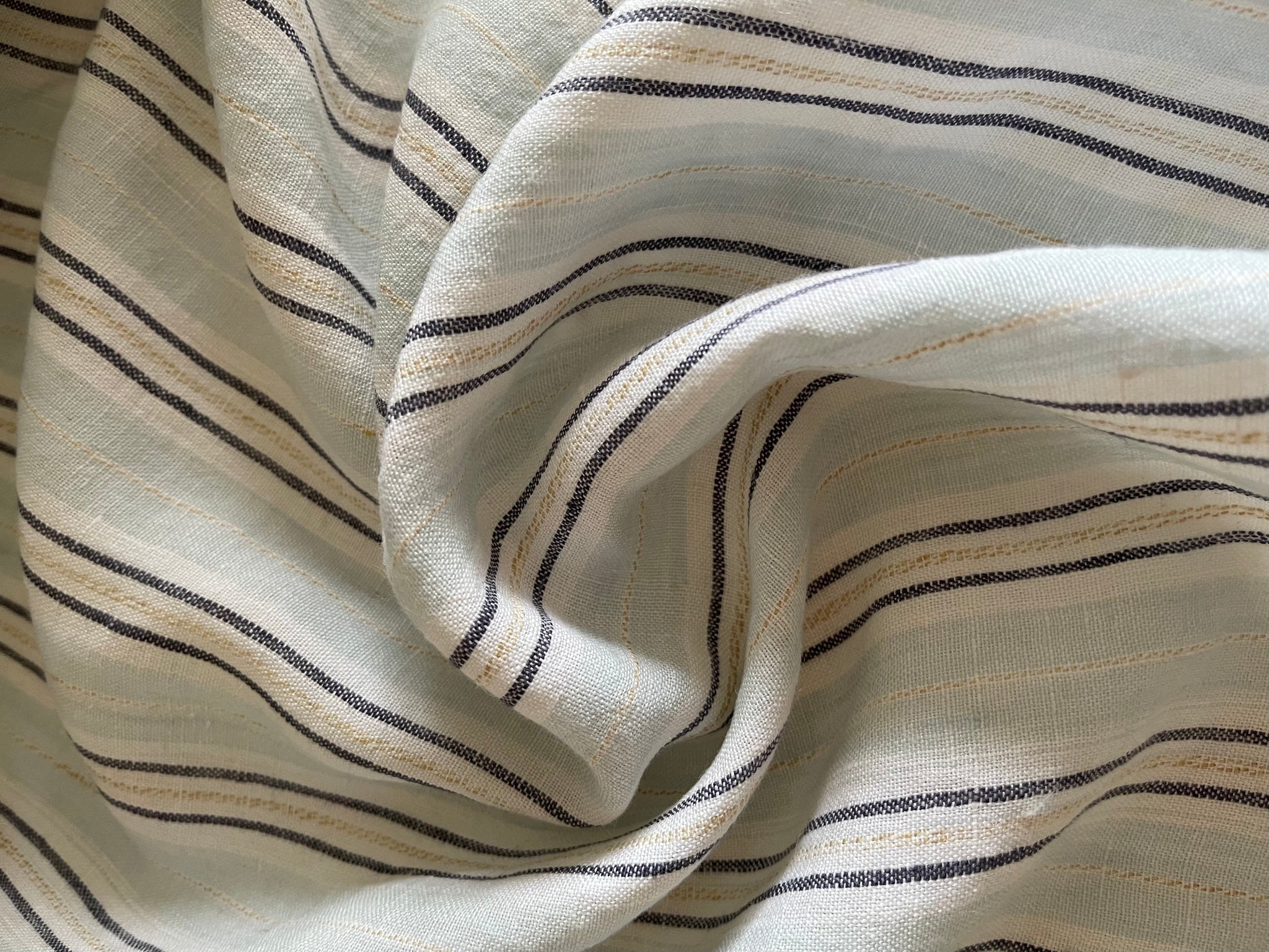 Sky Blue Stripes Linen Fabric - Stone Washed Super Soft