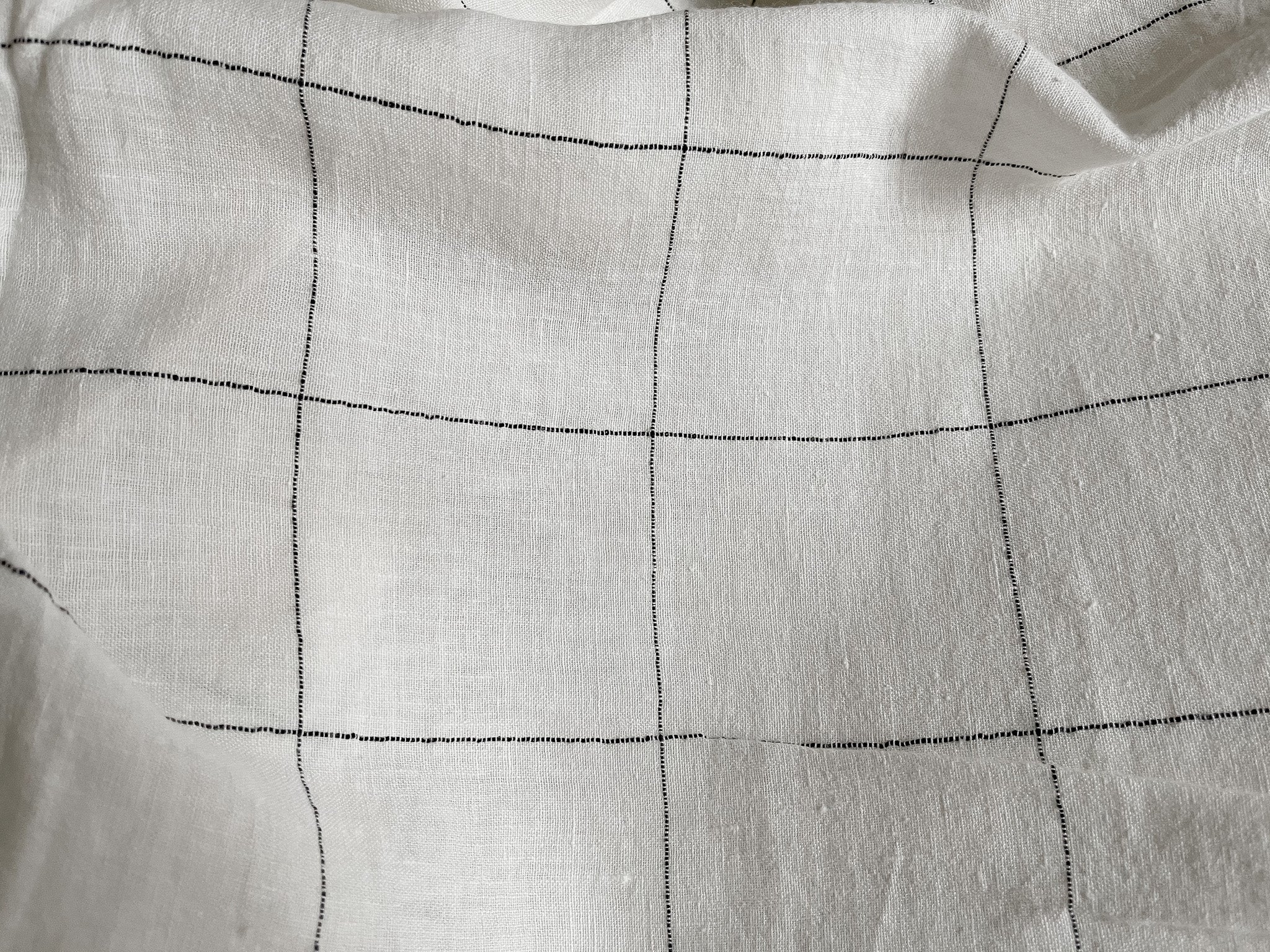 Ivory and Black Check Linen Fabric - Extra Wide Stone Washed Super Soft