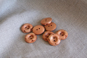 Set of 10 Flower Shaped Wood Buttons