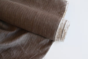 Brown Striped Linen Fabric