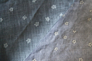Blueish Grey Floral Linen Fabric