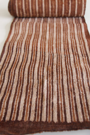 Organic Hmong Hill Tribe Hemp Fabric - Hand-woven and Hand-painted - brown stripes