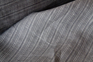 Grey Silver Striped Linen Fabric