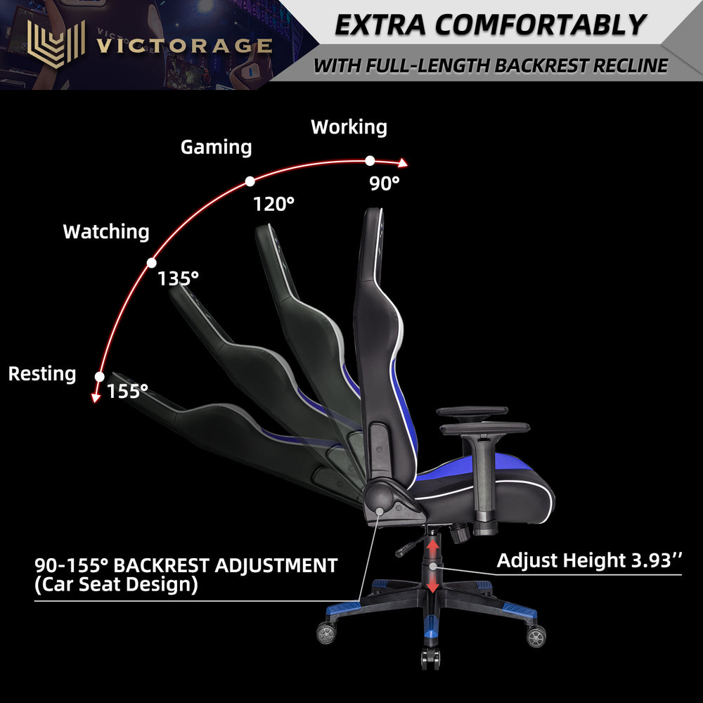 VICTORAGE Gaming Chair-Inspired by Racing car(Blue)