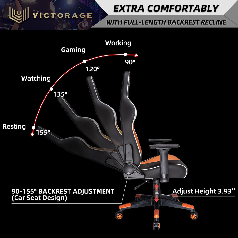 VICTORAGE Alpha Series Ergonomic Design Gaming Chair(Orange)