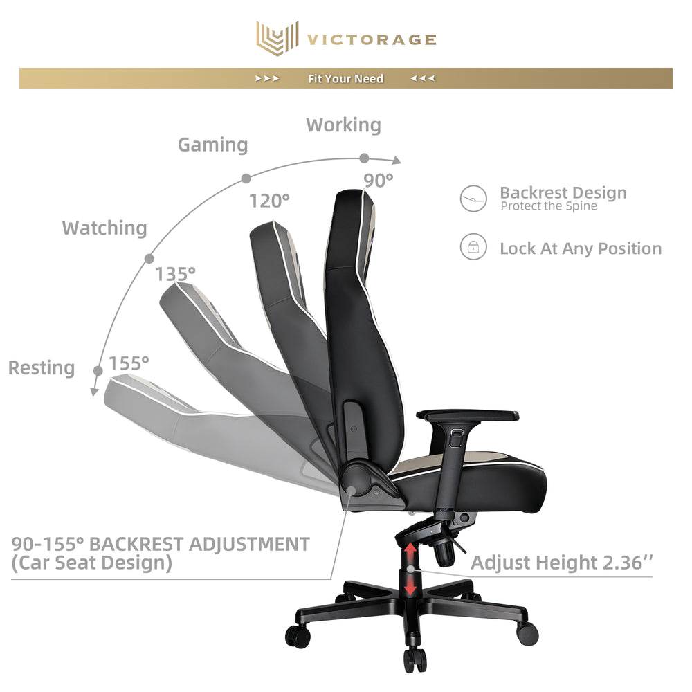 VICTORAGE  PU Leather Home Seat Office Chair(Grey)