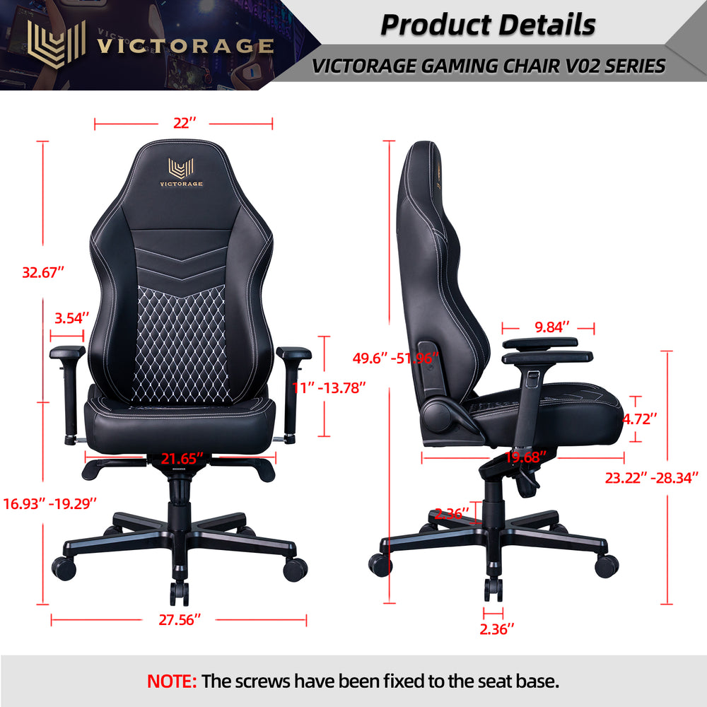 VICTORAGE Echo VE Series PU Leather Office Chair Home Seat(Black Diamond)