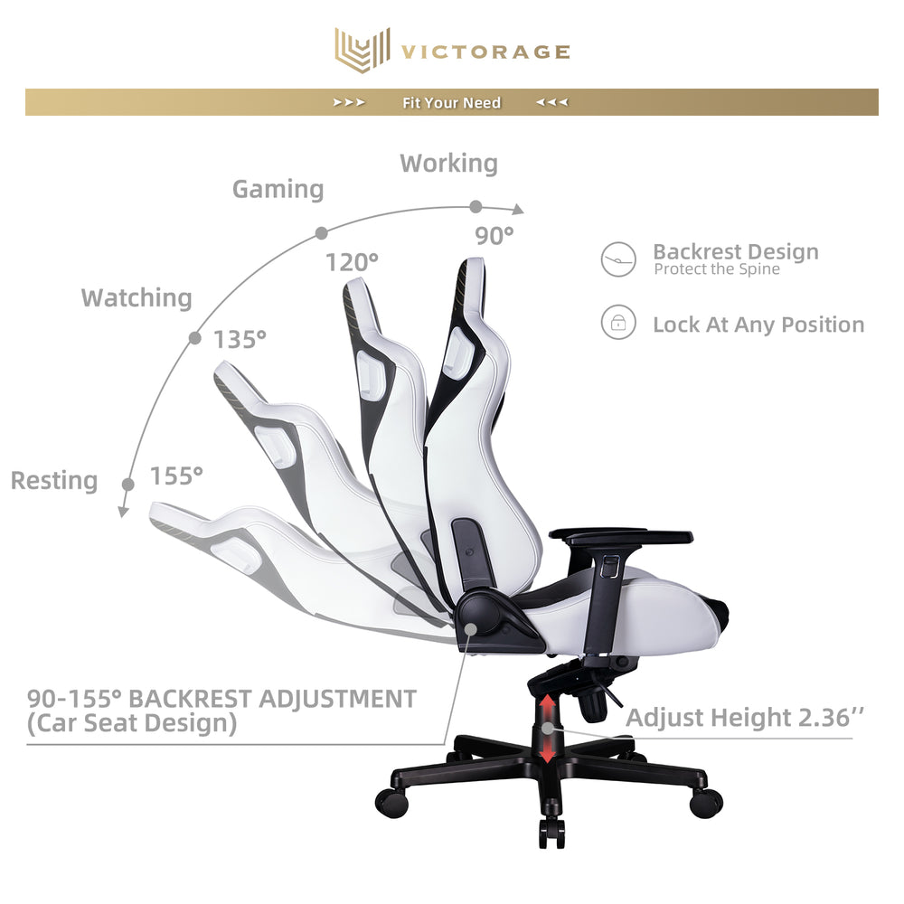 VICTORAGE  Delta VC Series Premium PU Leather Home Chair Gaming Chair(White)