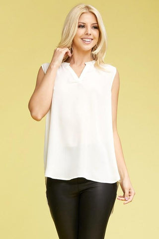 White Curvy Sleeveless High-Low Blouse