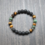 Calming Tiger Eye and Lava Stones Bracelet