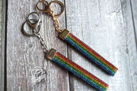 Rainbow Studed Swivel Key Fobs