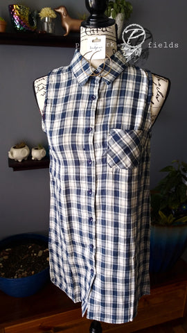 Plaid Sleeveless Button Down Blouse-Misses