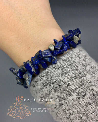 Rock Steady Natural Stone Stretch Bracelet, Blue